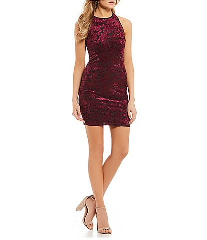 B. Darlin Floral Velvet Pattern Sheath Dress