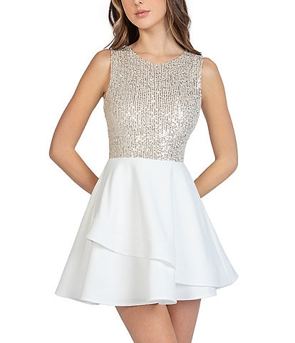 B. Darlin Sequin Bodice Tie-Back Fit-And-Flare Dress