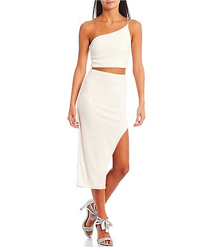 B. Darlin One Shoulder Ribbed Sequin-Embellished Asymmetrical Midi Two-Piece Dress
