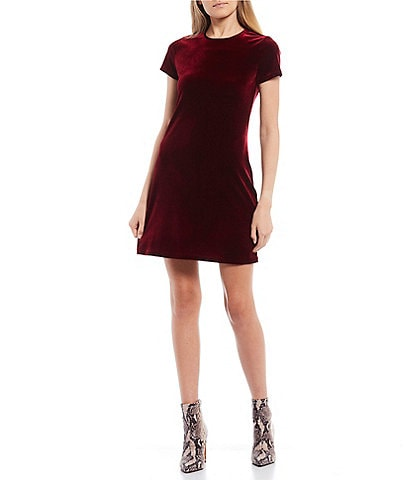 B. Darlin Short Sleeve Velvet Sheath T-Shirt Dress