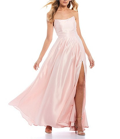 B. Darlin Strapless Point Neckline High Side Slit Satin Long Dress
