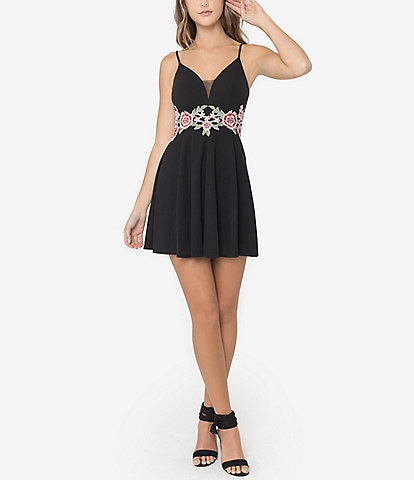 B. Darlin Sleeveless Floral Embroidered Waist Fit-And-Flare Dress