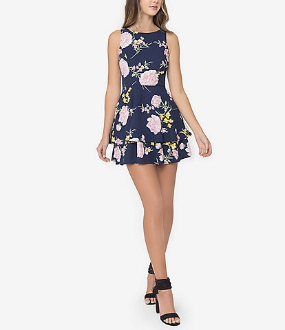 B. Darlin Sleeveless Floral-Printed Fit-And-Flare Double Hem Dress