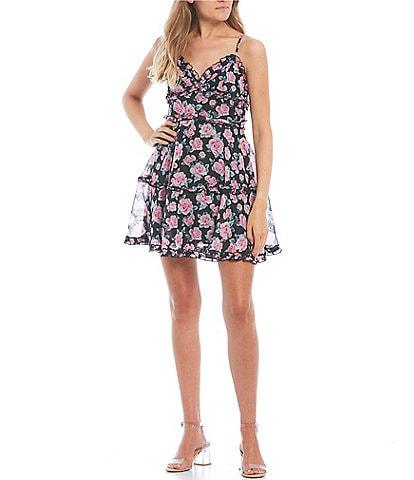 B. Darlin Sleeveless Floral-Printed Ruffle-Tier Dress