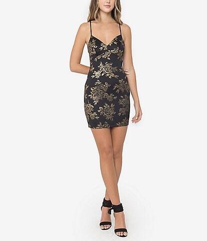 B. Darlin Sleeveless Foiled Floral Sheath Dress