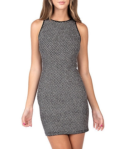 B. Darlin Sleeveless Glitter Pattern Sheath Dress