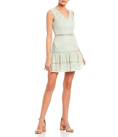 B. Darlin Sleeveless Lace Double Hem Dress