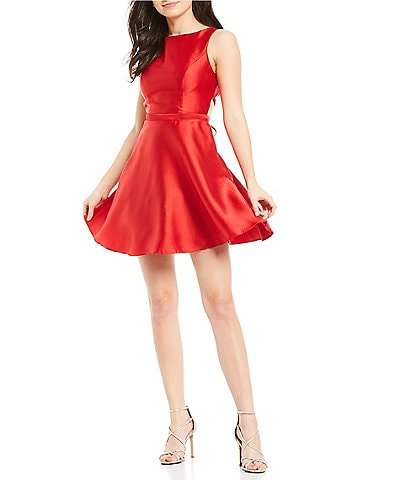B. Darlin Sleeveless Lace-Up Back Satin Fit-and-Flare Dress