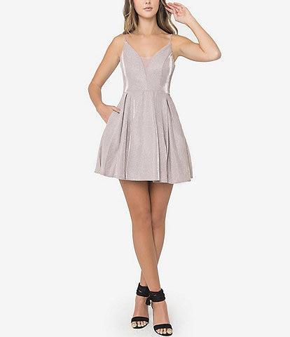 B. Darlin Sleeveless Metallic Shine Fit-And-Flare Dress