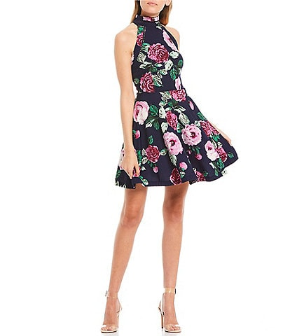 B. Darlin Sleeveless Mock-Neck Floral Print Fit-and-Flare Dress