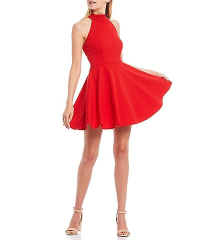 B. Darlin Sleeveless Mock-Neck Scuba Crepe Skater Dress