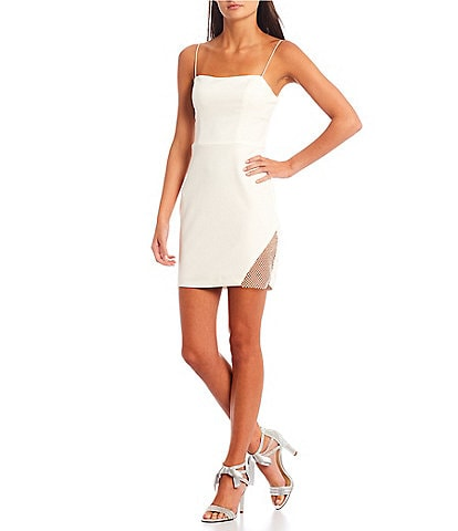 B. Darlin Sleeveless Rhinestone-Embellished-Mesh-Inset Bodycon Dress