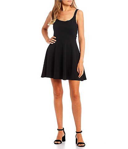 B. Darlin Sleeveless Scoop-Neck X-Back Mesh Fit-and-Flare Dress