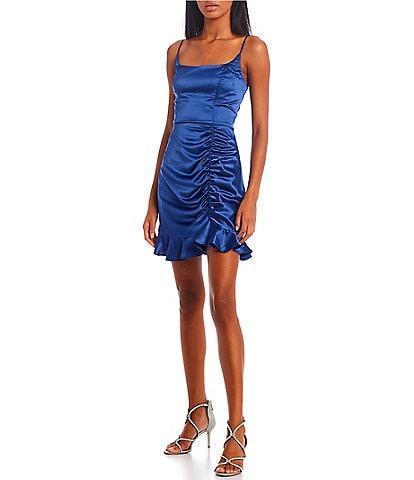 B. Darlin Sleeveless Satin Squareneck Ruched Skirt Flounce-Hem Dress