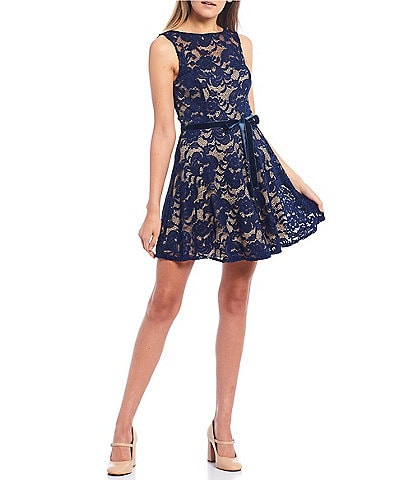 B. Darlin Sleeveless Two-Tone Velvet Lace Skater Dress