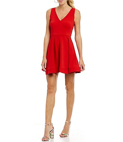 B. Darlin Sleeveless V-Neck Bow-Back Fit-and-Flare Dress