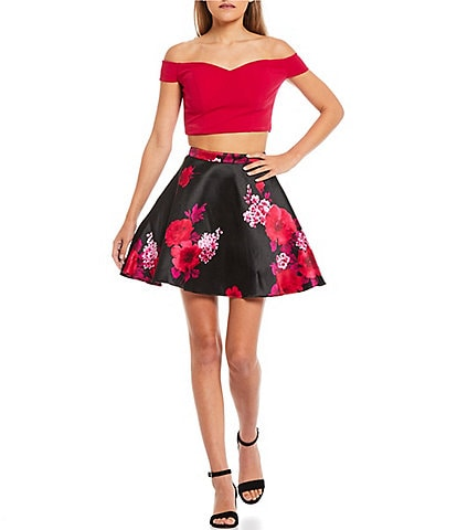B. Darlin Solid Off-The Shoulder Crop Top & Floral Satin Fit-And-Flare Skirt Two-Piece Dress