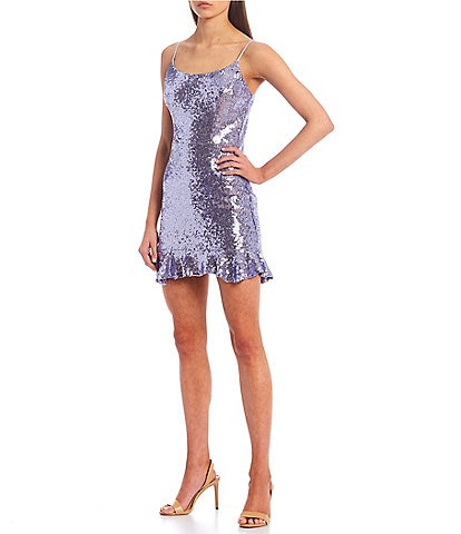 B. Darlin Spaghetti Sequin Flounce Hem Sheath Dress