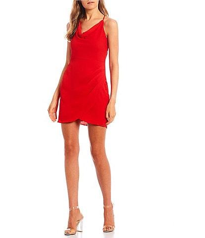 B. Darlin Spaghetti Strap Cowl-Neck Faux-Wrap Dress