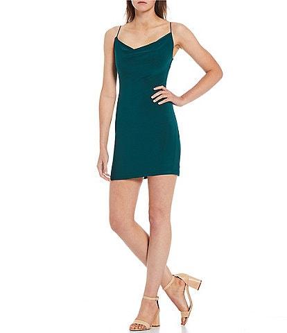 B. Darlin Spaghetti Strap Cowl-Neck Stretch-Knit Bodycon Dress