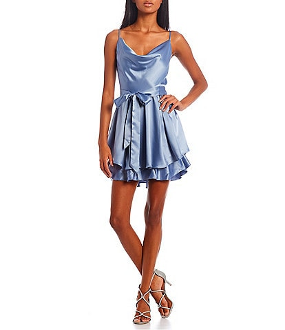 B. Darlin Spaghetti Strap Cowl-Neck Tie-Waist Double Hem Fit-and-Flare Satin Dress