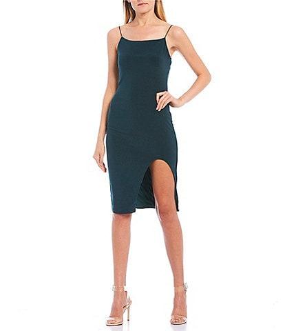 B. Darlin Spaghetti Strap Cut-Out-Leg Knee Length Dress