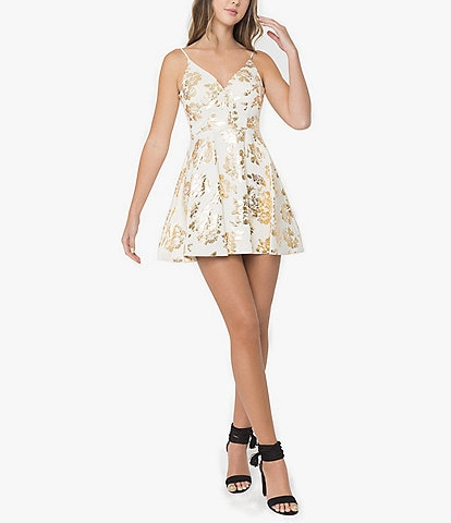 B. Darlin Spaghetti Strap Foiled Floral Print Fit-and-Flare Dress