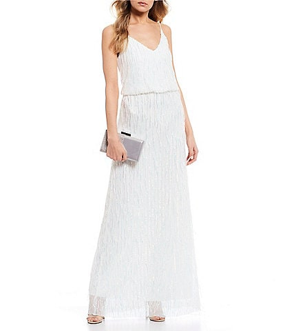 B. Darlin Spaghetti Strap Fringe Sequin Blouson Long Dress