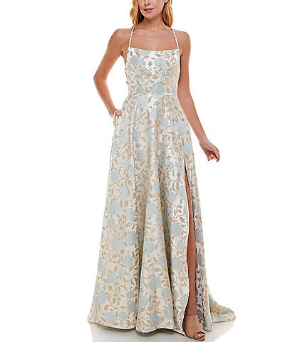 B. Darlin Spaghetti Strap Lace-Up-Back Floral Jacquard Ball Gown