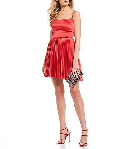 B. Darlin Spaghetti Strap Lace-Up-Back Satin Pleated Fit-and-Flare Dress