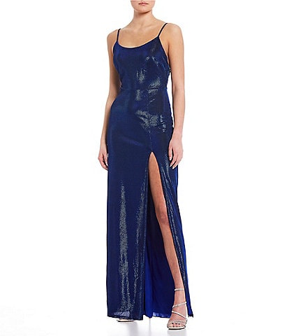 B. Darlin Spaghetti Strap Open Back High Side Slit Shimmer Long Dress