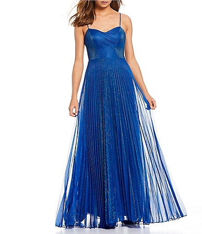 B. Darlin Spaghetti Strap Pleated Glitter Long Dress