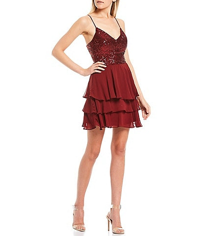 B. Darlin Spaghetti Strap Sequin Chiffon Tiered Hem Dress