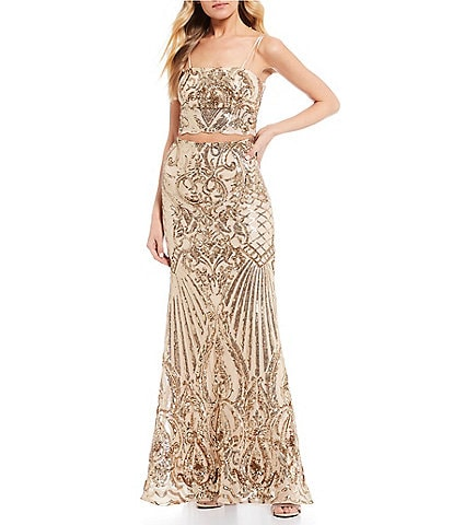 B. Darlin Spaghetti Strap Sequin Top with Sequin Trumpet Skirt Two-Piece Long Dress
