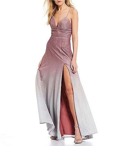 B. Darlin Spaghetti Strap Shimmer Ombre Long Dress