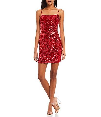 B. Darlin Spaghetti Strap Square Neck Bow Back Sequin-Embellished Sheath Dress