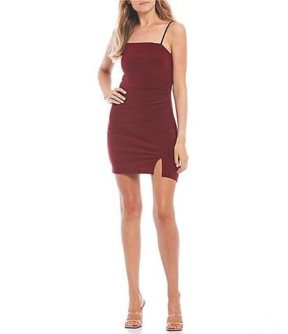 B. Darlin Spaghetti Strap Square-Neck Front Slit Stretch-Knit Slim Dress