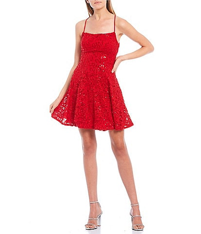 B. Darlin Spaghetti Strap Square Neck Lace-Up Back Sequin Lace Fit-and-Flare Dress