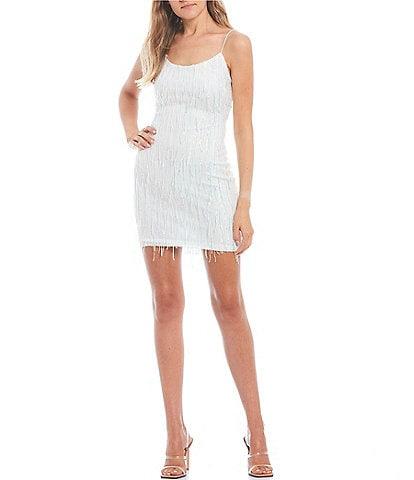 B. Darlin Spaghetti Strap Square-Neck Sequin Fringed Party Dress