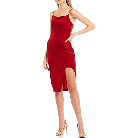 B. Darlin Spaghetti Strap Square Neck Side Slit Velvet Midi Slip Dress