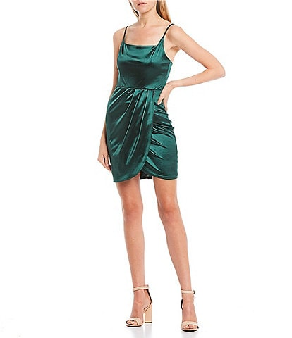 B. Darlin Spaghetti Strap Square-Neck Tulip Hem Stretch Satin Dress