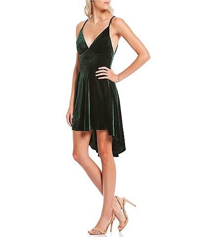 B. Darlin Spaghetti Strap Tie-Neck Velvet High-Low Dress