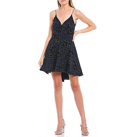 B. Darlin Spaghetti Strap V-Neck Beaded Flocked Hi-Low Dress