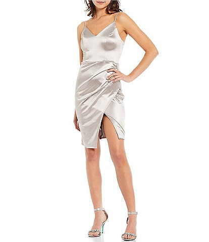 B. Darlin Spaghetti Strap V-Neck Faux-Wrap Metallic Satin Dress