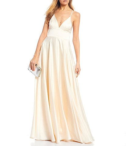 B. Darlin Spaghetti Strap V-Neck Satin Long Dress
