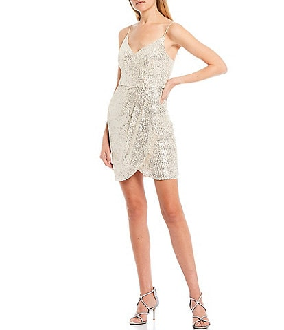 B. Darlin Spaghetti Strap V-Neck Sequin Faux-Wrap Skirt Dress