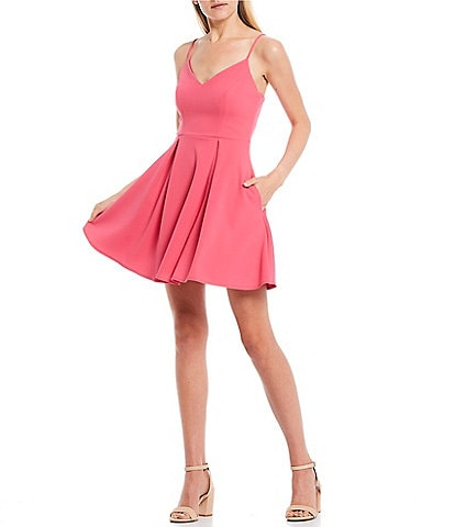 B. Darlin Spaghetti Strap V-Neck Skater Dress