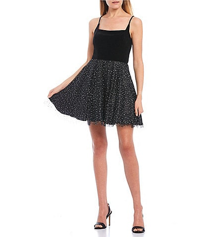 B. Darlin Spaghetti Strap Velvet Mesh Studded Fit-and-Flare Dress