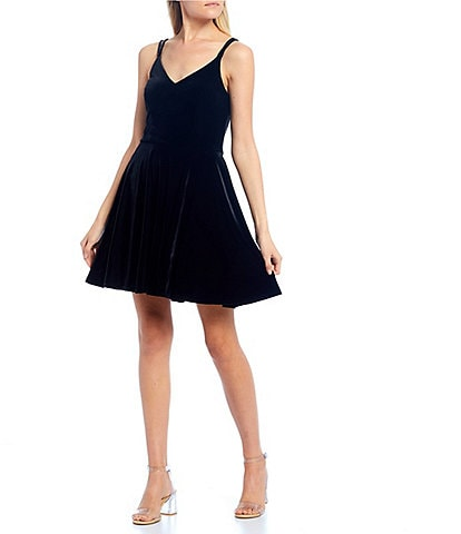 B. Darlin Spaghetti Strap X-Back Velvet Skater Dress