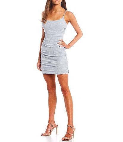 B. Darlin Spaghetti Straps Shirred Glitter Knit Bodycon Dress